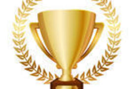 Preview vector illustration of gold shiny trophy and laurels 162145178